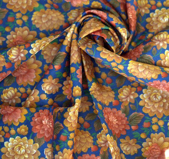 USSR Fabric Vintage Fabric Cotton Flowers Retro Fabric