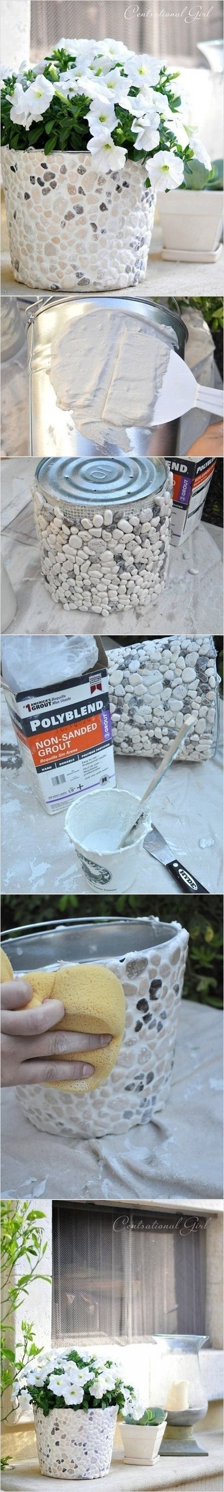 DIY Stone planter.  I could use my #10 cans for this!: Ideas, Mosaics Flowers Pots, Stones Planters, Coffee Cans, Pebble Mosaic, Paintings Cans, Flower Pots, Tins Cans, Flowerpot