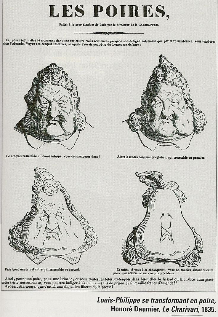 Honore Daumier's caricature of French king Louis-Philippe, 1835