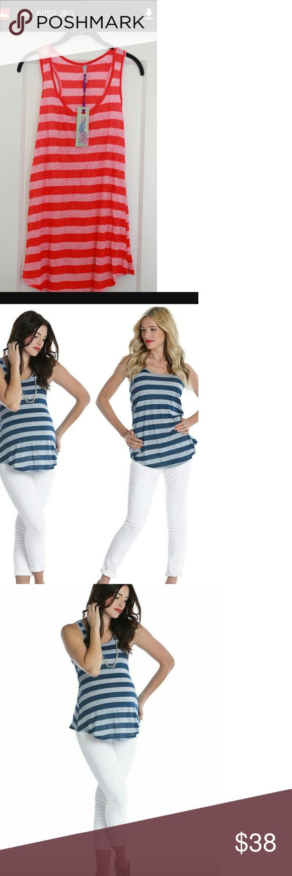 D & A Fabulous Tank from Lilac Clothing NWT NEW Coming soon, this adorable striped tank from Lilac Clothing! All Lilac's styles are designed fit beautifully whether you are pregnant or not. This is great with jeans, shorts, capris, use it as a swim cover up, or an extra layer when nursing. Lilac designer clothing is made to fit and look beautiful and a whole 10 months and beyond!  Blue or coral striped available.   No offers on new items, please. Enjoy your pregnancy! Lilac Clothing Tops…
