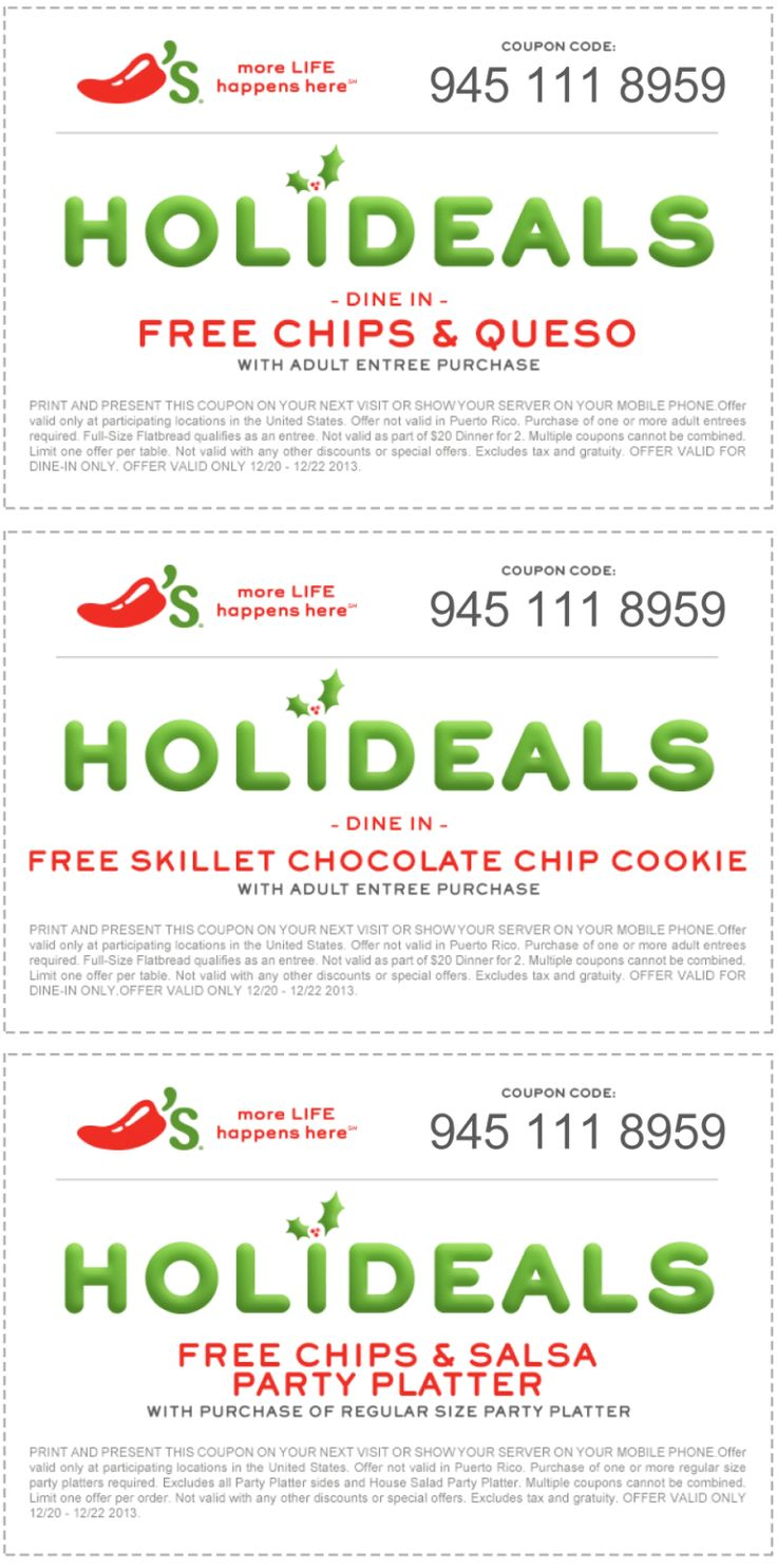 Pinned December 20th: Chips & queso free with your entree & more at #Chilis #coupon via The Coupons App