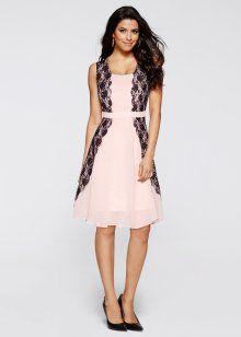 Kleid, BODYFLIRT boutique, rosa/schwarz