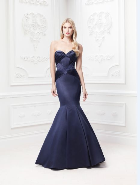 Truly zac posen long strapless satin fit and flare dress for Fit and flare wedding dress body type