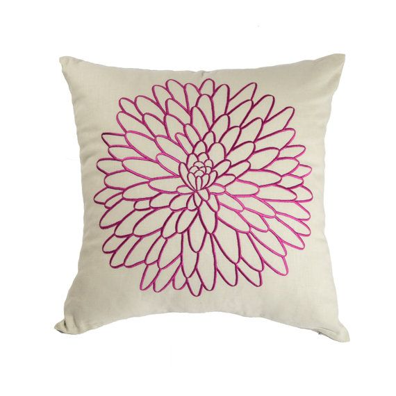 Purple Floral Throw Pillow Cover, Embroidered Pillow, Oatmeal Linen Deep Purple Flower, Flower Pillow Case, Modern Contemporary pillow