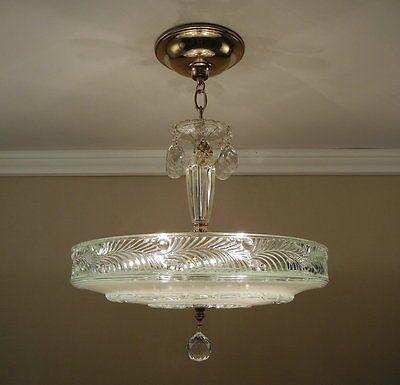 "Antique 1930's Chandelier LG 16.5"" Vintage Pressed Glass Ceiling 4 Light Fixture"
