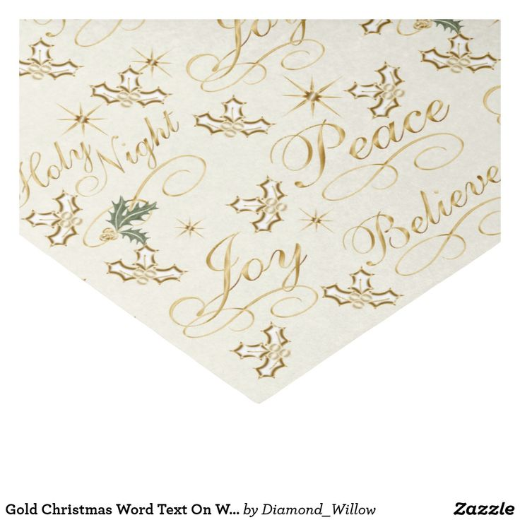 Gold Christmas Word Text On White Tissue Paper