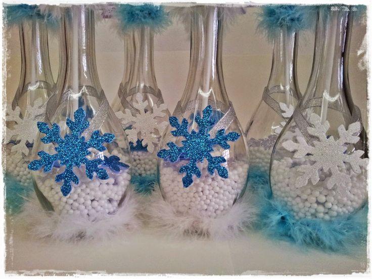 idéias de centro de mesa para festa infantil com tema Frozen
