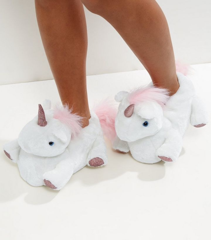White Unicorn Slippers | New Look