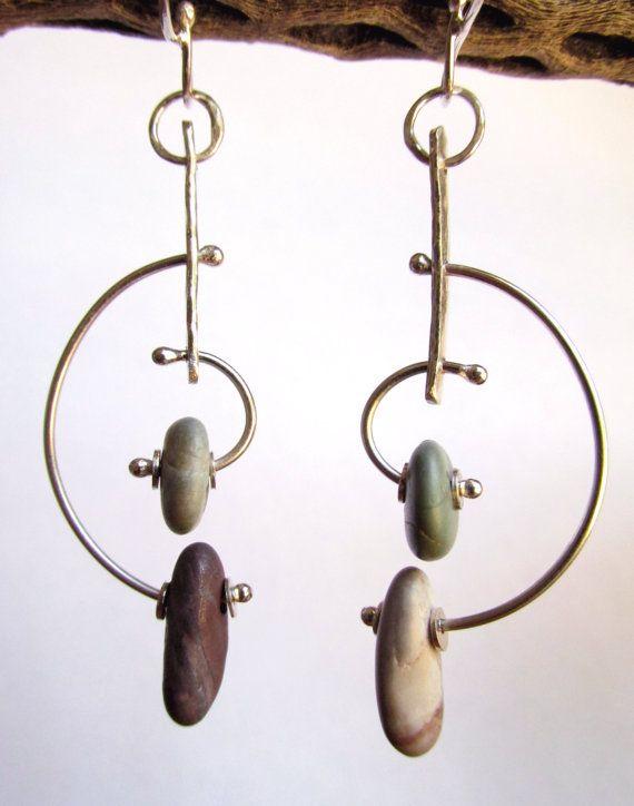 Earrings  Sterling Silver  Modernist Style Hoop by rmddesigns, $37.00
