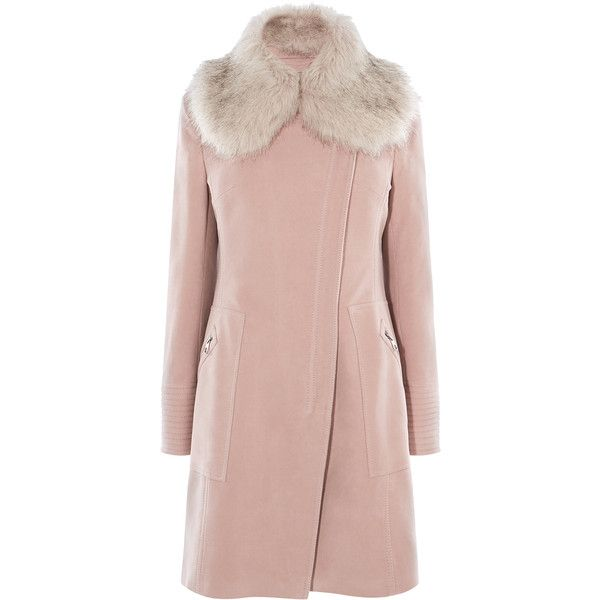 Karen Millen FAUX FUR WRAP COAT ($550) ❤ liked on Polyvore featuring outerwear, coats, texture coat, full length coat, fur-lined coats, leather-sleeve coats and pink coats