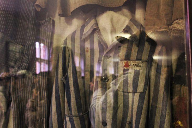 Block 6. Striped uniforms which belonged to prisoners of Auschwitz.