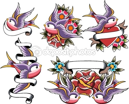 Swallow tattoo design — Stock Vector #10069158