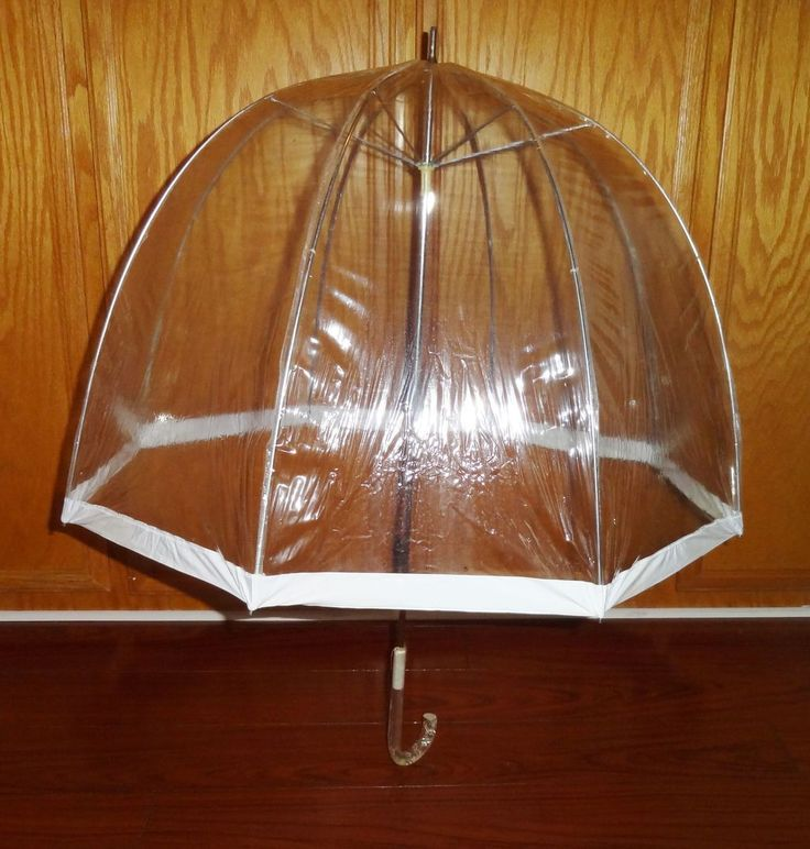 Vintage 1960's Clear Vinyl Bubble Umbrella with Clear Carved Lucite Handle