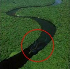 World's Biggest Snake of 100 Feet found in Amazon River Basin - The picture was actually an entry in photo effects contest of Worth1000.com, which featured all the animals rumored to exist, but haven't been caught. It was titled 'Giant Congo Snake' and backed third place in the contest, while the contest ended in 2002. As you can see in the image section below, the original picture shows couple of rock kind of formations inside the water body, the second one of which seems to be deleted