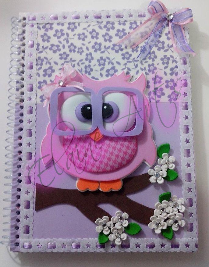 Caderno universitário Decorado | Elaine Art´s | Elo7