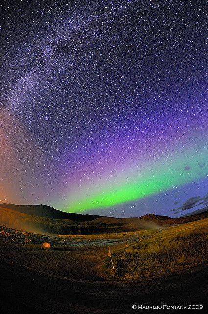 """Aurora Borealis & Milkyway, Iceland """"What is this love that engulfs my soul with pure delight... while colors dance within my heart and whirl in the midnights skies..."""" Donna Rayne"""