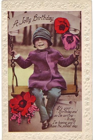 W B Postcard - A Jolly Birthday c1920