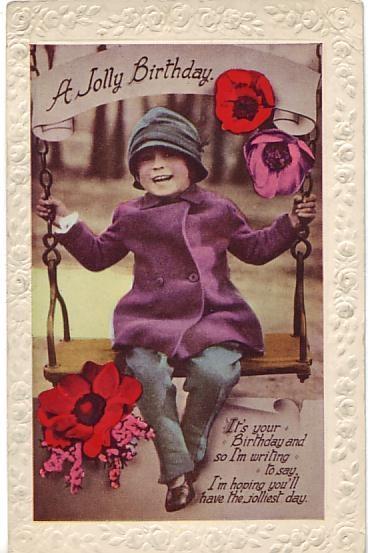 W B Postcard - A Jolly Birthday c1920
