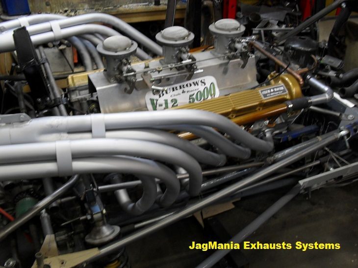Burrows designed Exhaust system for GP period style racer.