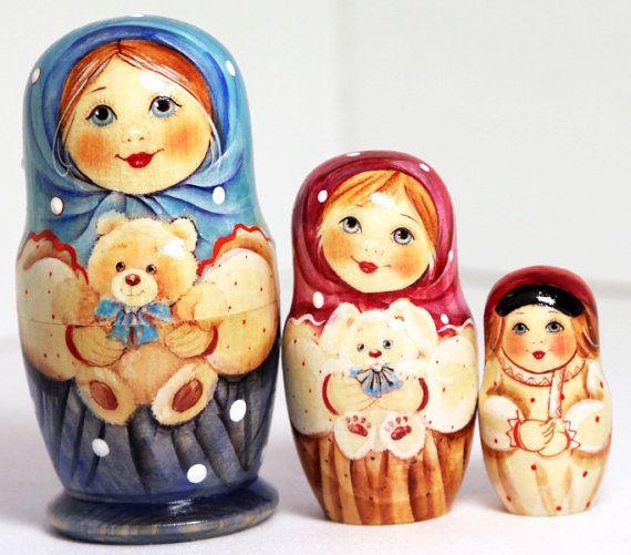 Russian nesting dolls child with teddy bear by nestingdollrus