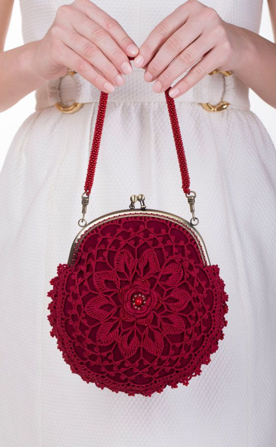 Red purse, bridesmaids purse, lace purse, Beaded Crochet purse, Victorian Style bag, irish lace purse, flower bag, clasp purse, handbag