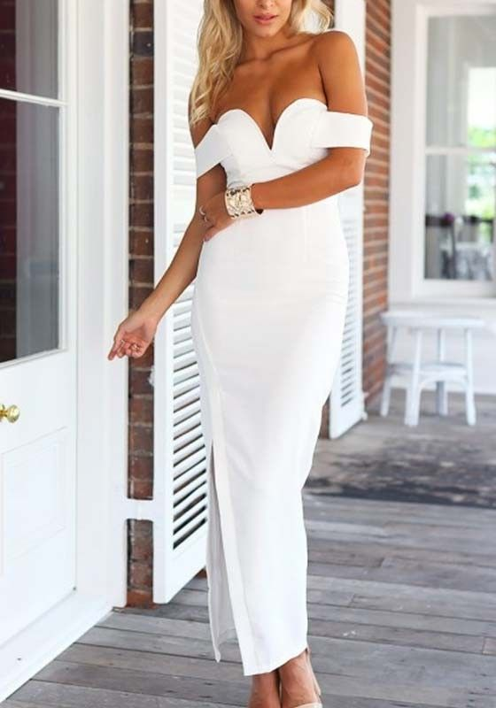White Plain Irregular Bandeau Boat Neck Maxi Dress / Pinterest-heatonminded