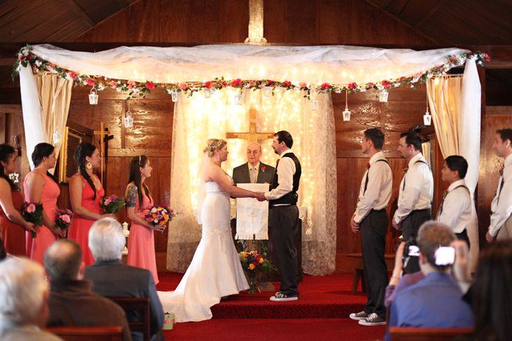 Sweet ceremony decor for a small church wedding - Cordova Alaska Wedding Photography