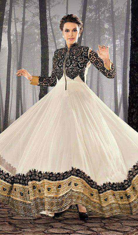 Neha Dhupia Black and White Embroidered Net Floor Length Anarkali Suit Price: Usa Dollar $195, British UK Pound £115, Euro143, Canada CA$210 , Indian Rs10530.