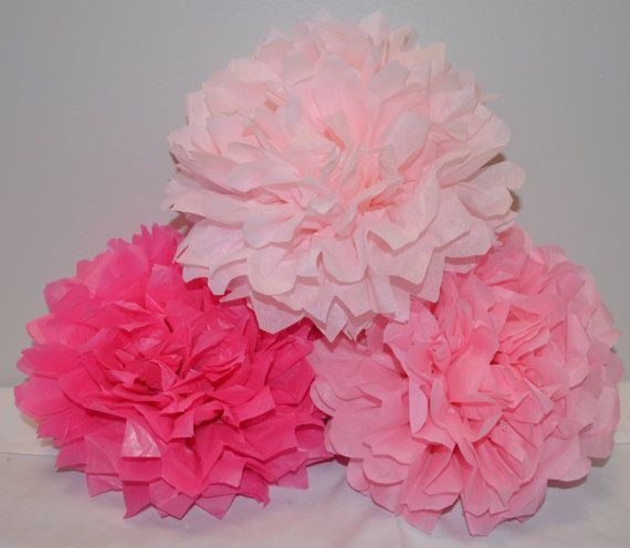 Baby Shower Decorations - Set of 15 Hanging Tissue Paper Pom Poms or Tissue Paper Flower Centerpieces - Your Colors via Etsy