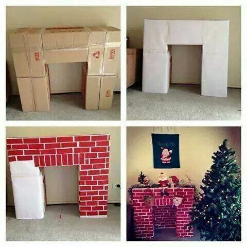 Fácil y hermosa idea. Los ladrillitos pueden ser de papel rojo o forrar en rojo toda la estructura y delinear con blanco.