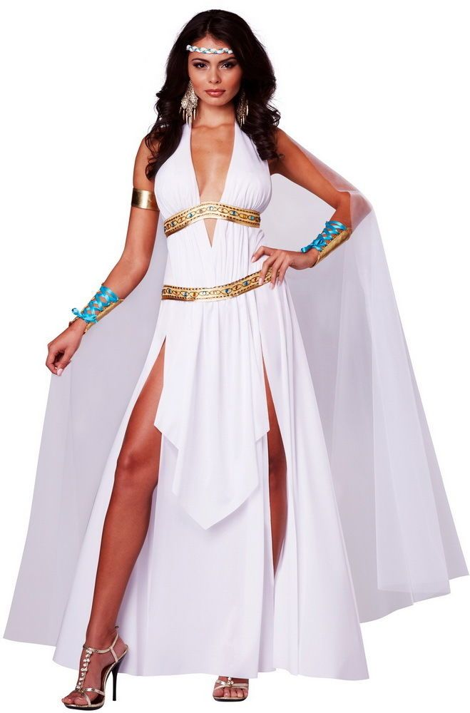 Description: Glory to our goddess! The Glorious Goddess costume is a halter top dress featuring a deep v neckline with beaded gold trim and comes with an attached white organza cape.