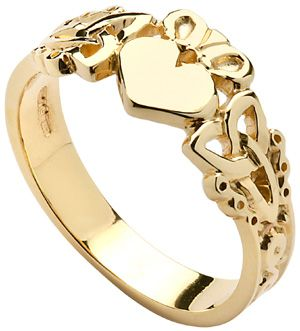 IrishJewelryOnline.com: Mens Yellow Gold Trinity Knot Claddagh also in white gold