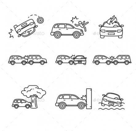 Trendy Cars Art Vector 61 Ideas Car Crash Art Icon Icon Set