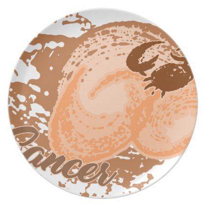 Orange Cancer Horoscope Crab Plate - ocean side nature waves freedom design