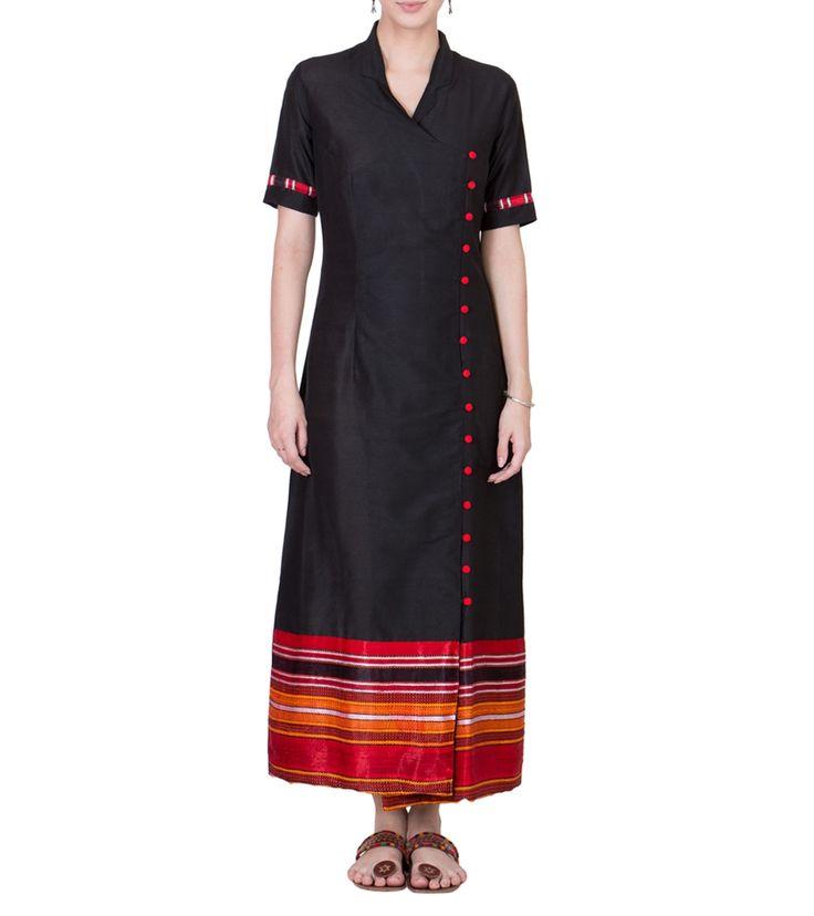 Black Cotton Silk Block Printed Maxi #indianroots #fusionwear #cotton #silk #printed #blockprint #summerwear #casualwear