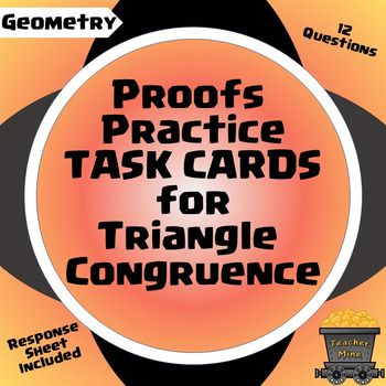 This set of task cards includes 14 proofs related to triangle congruence using the following concepts: SSS, SAS, ASA, AAS, HL,Reflexive Property of Congruence, Isosceles Triangle Theorem, Parallel Lines, Alternate Interior Angles, Substitution, Segment Bisector, Angle Bisector, Definition of Congruence, Perpendicular Lines, Right Angle Congruence, Midpoint, Vertical Angles, CPCTC, and overlapping triangles.