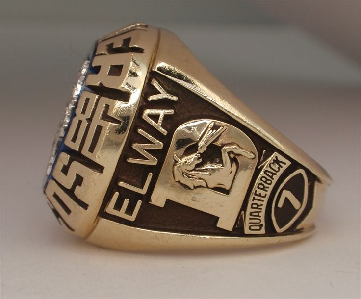 broncos super bowl rings   1986 Denver Broncos Super Bowl XXI Champions 10K Gold Proto-Type Ring ...