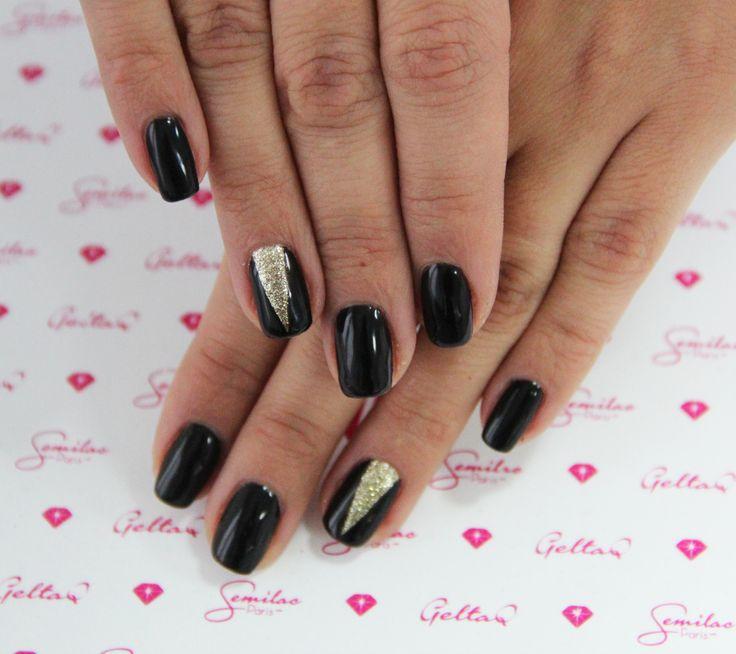 #blackdiamond #black #glamour #golddisco #nails #semilac