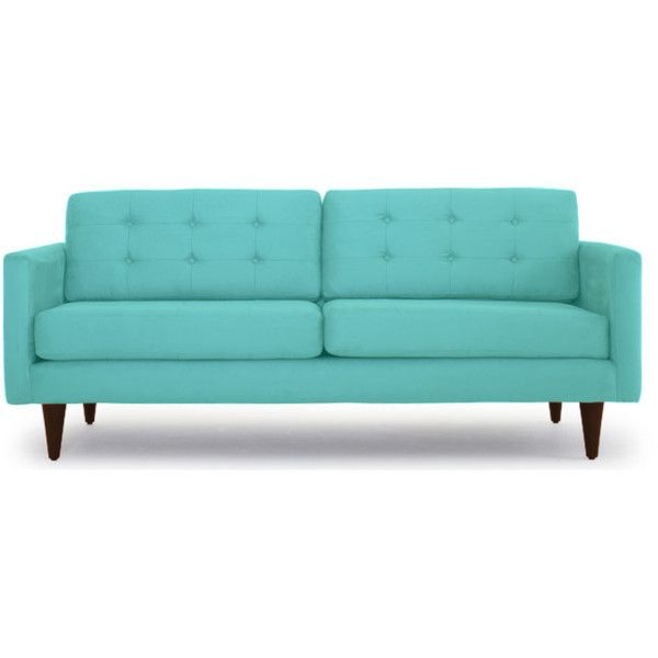 Sofa Pillows Joybird Eliot Mid Century Modern Black Leather Apartment Sofa liked on Polyvore
