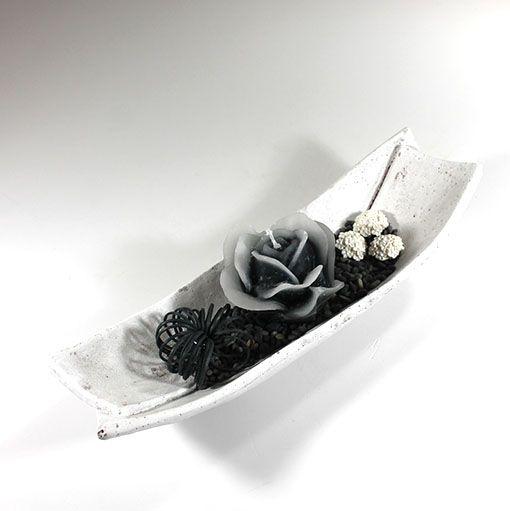 Deko sort hvid m rosebuket