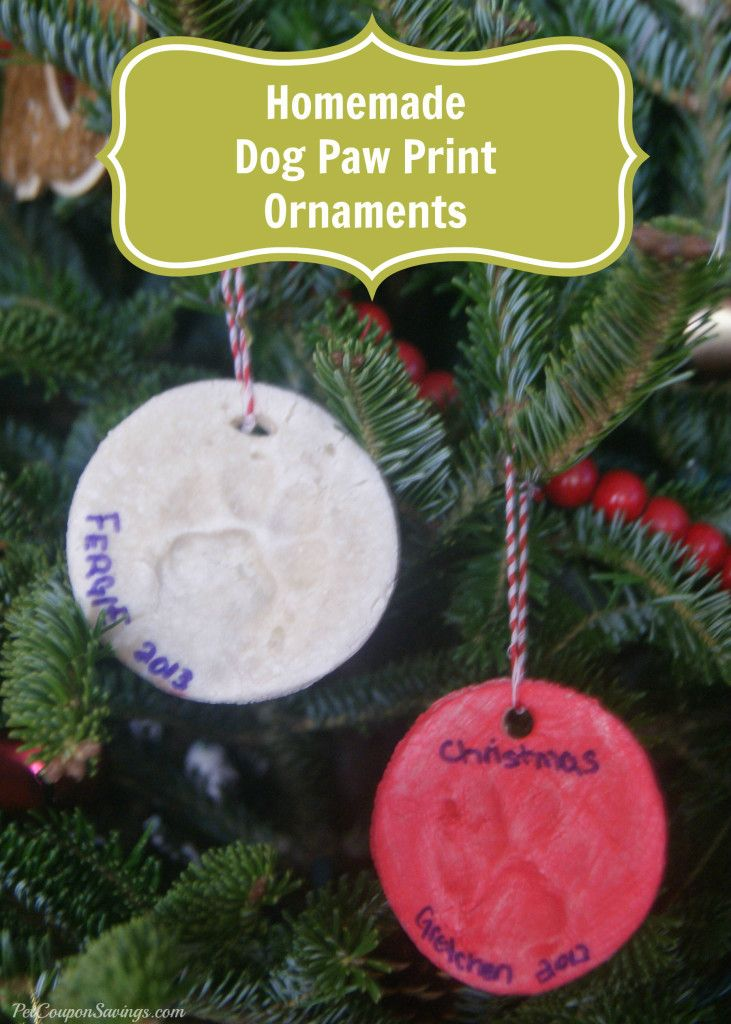 Homemade Dog Paw Print #Christmas Ornaments. What a fun and #easy way to make a pet keepsake! #dogs #Christmas #diy