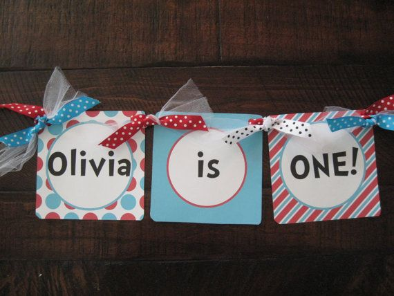 Thing 1 Thing 2 Inspired High Chair Banner, Happy Birthday Banner on Etsy, $11.00