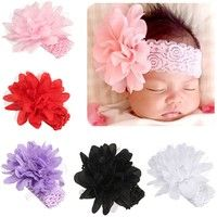 Wish | Infant Kid Girl Baby Headband Toddler Lace Bow Flower Hair Band Headwear Xmas