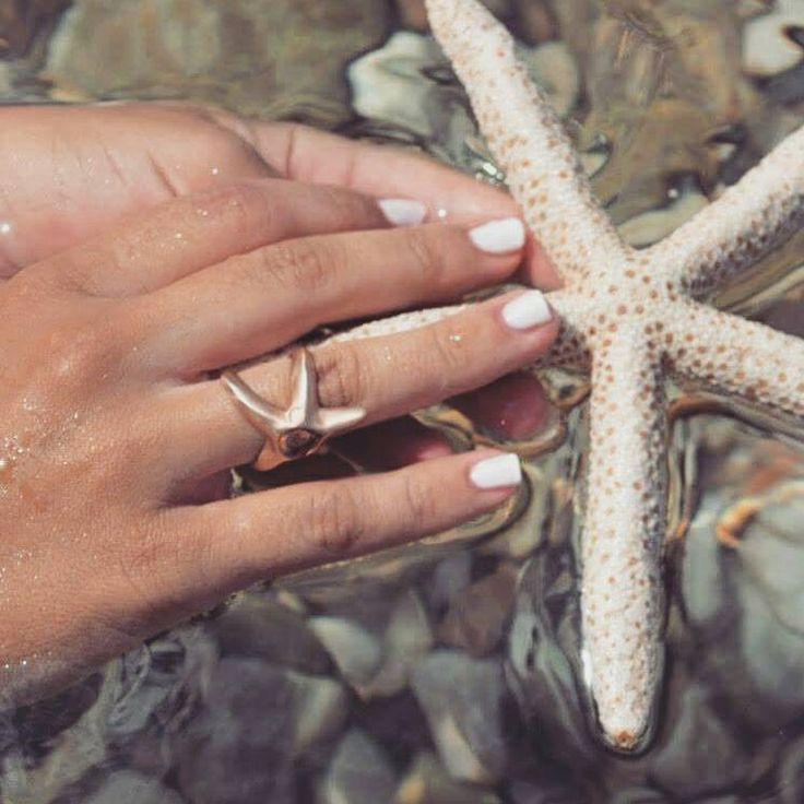 Stella rosa d'oro, anello di stelle marine, tourmalin stone.starfish anello, sabbiatura, cm Sea treasure ' questo pesce stella anello di fatto un manoush & quarantee di fattoamanou su Etsy