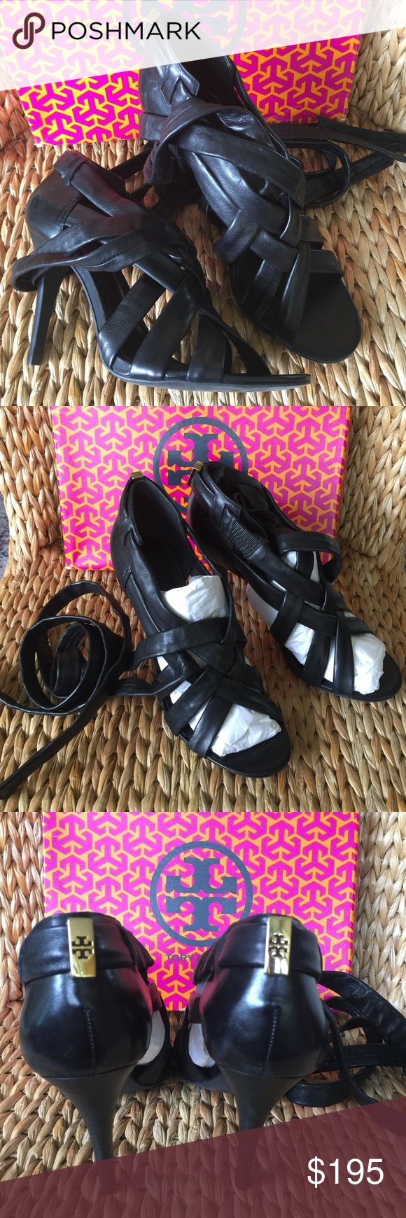 Kate Spade Black Leather  Ankle Wrap Sandals Kate Spade ankle wrap Sandals in super soft black leather. Criss cross design. Stacked black heel. Gold Tory logo at back. Size 10M new in box... Tory Burch Shoes Heels