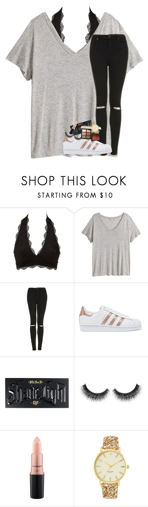 """going to moes with my best friend!!"" by lindsaygreys ❤ liked on Polyvore featuring Charlotte Russe, H&M, Topshop, adidas Originals, Kat Von D, NARS Cosmetics, MAC Cosmetics and Kate Spade"