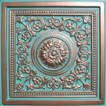"""Majesty Antique Copper Patina (24x24"""" Pvc) Ceiling Tile     Would need 40   at $8.00 that would be $320.00"""