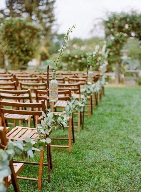 Decorate your guests' chairs in a simple way. | outdoor wedding | | outdoor wedd… – Outdoor Wedding İdeas Trendy 2019