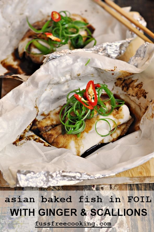 Asian Baked Fish in Foil with Ginger & Scallions-fussfreecooking.com