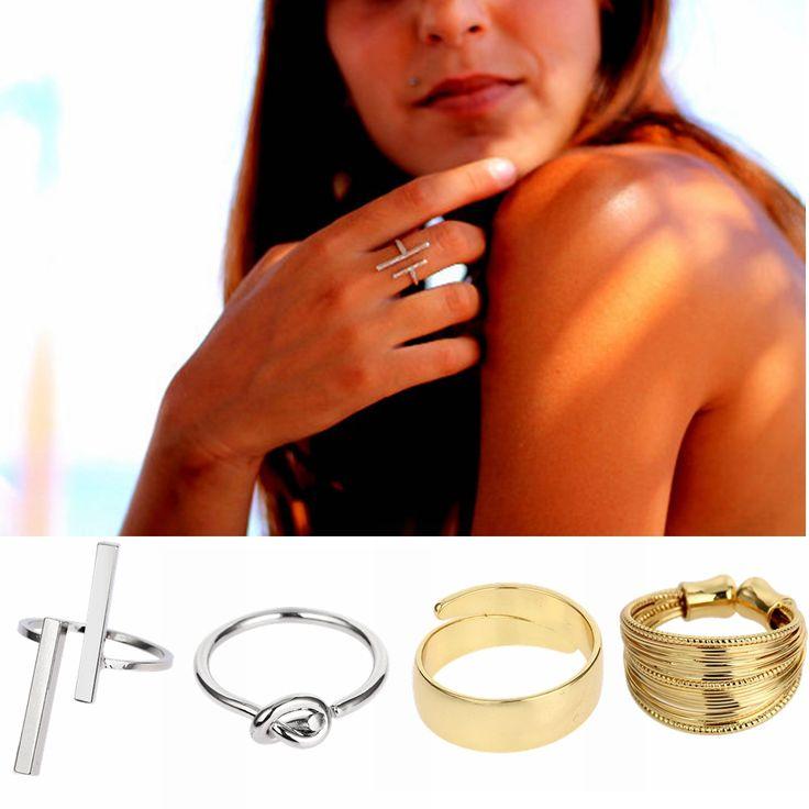 Yeni 12 Stilleri Kadın Erkek Yüzükler Çift Bar Açık Paralel T Düğüm Ayarlanabilir Minimalist Takı Bakır Simli Altın Anelli donna